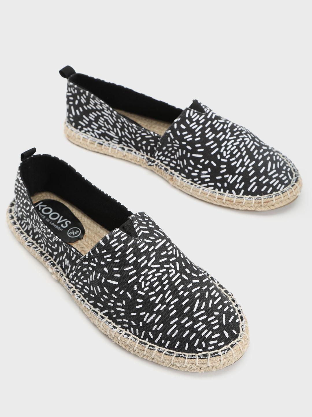 KOOVS Black All Over Print Original Espadrilles 1