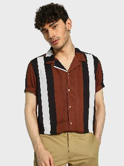 Adamo London Vertical Stripe Cuban Collar Shirt