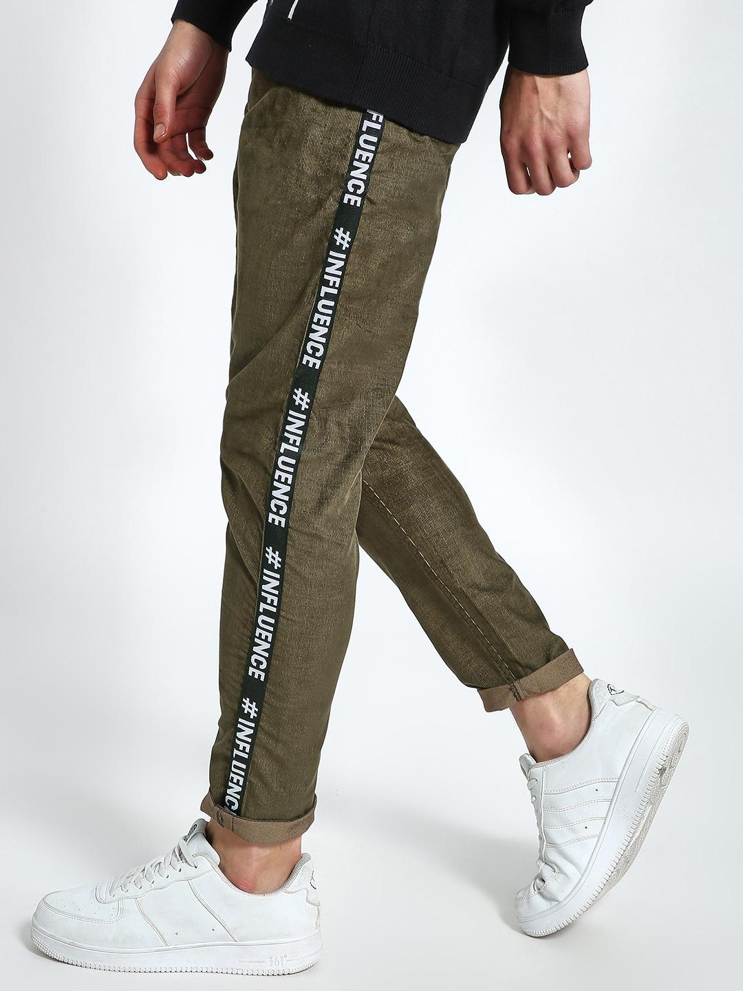TRUE RUG Green Text Side Tape Corduroy Trousers 1