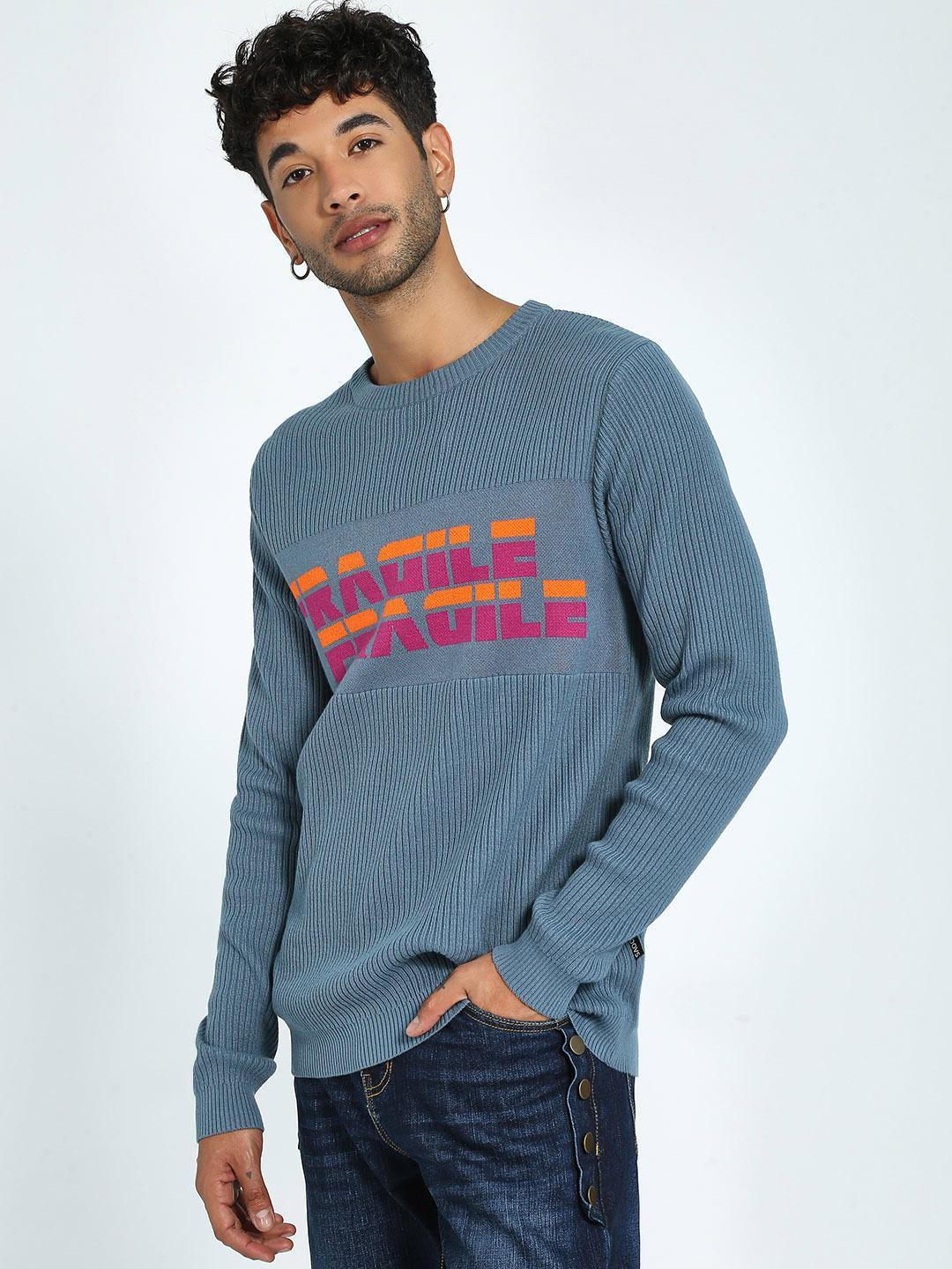 KOOVS Blue Ribbed Knit Text Sweater 1