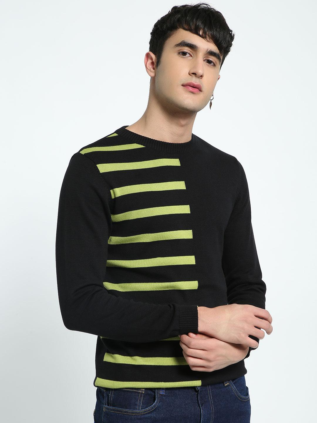 KOOVS Multi Half Contrast Stripe Sweater 1