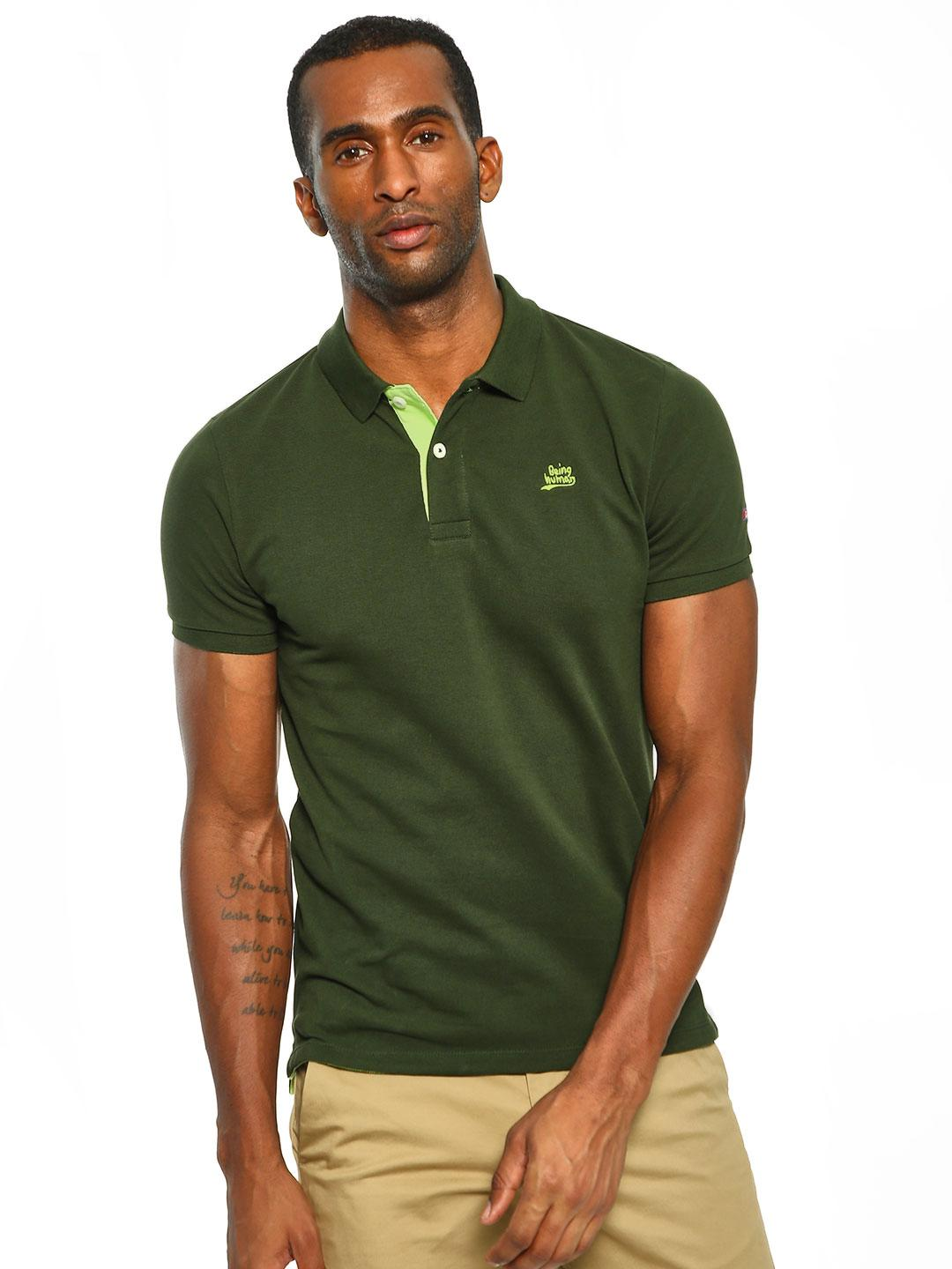 Being Human Green Basic Logo Polo Shirt 1