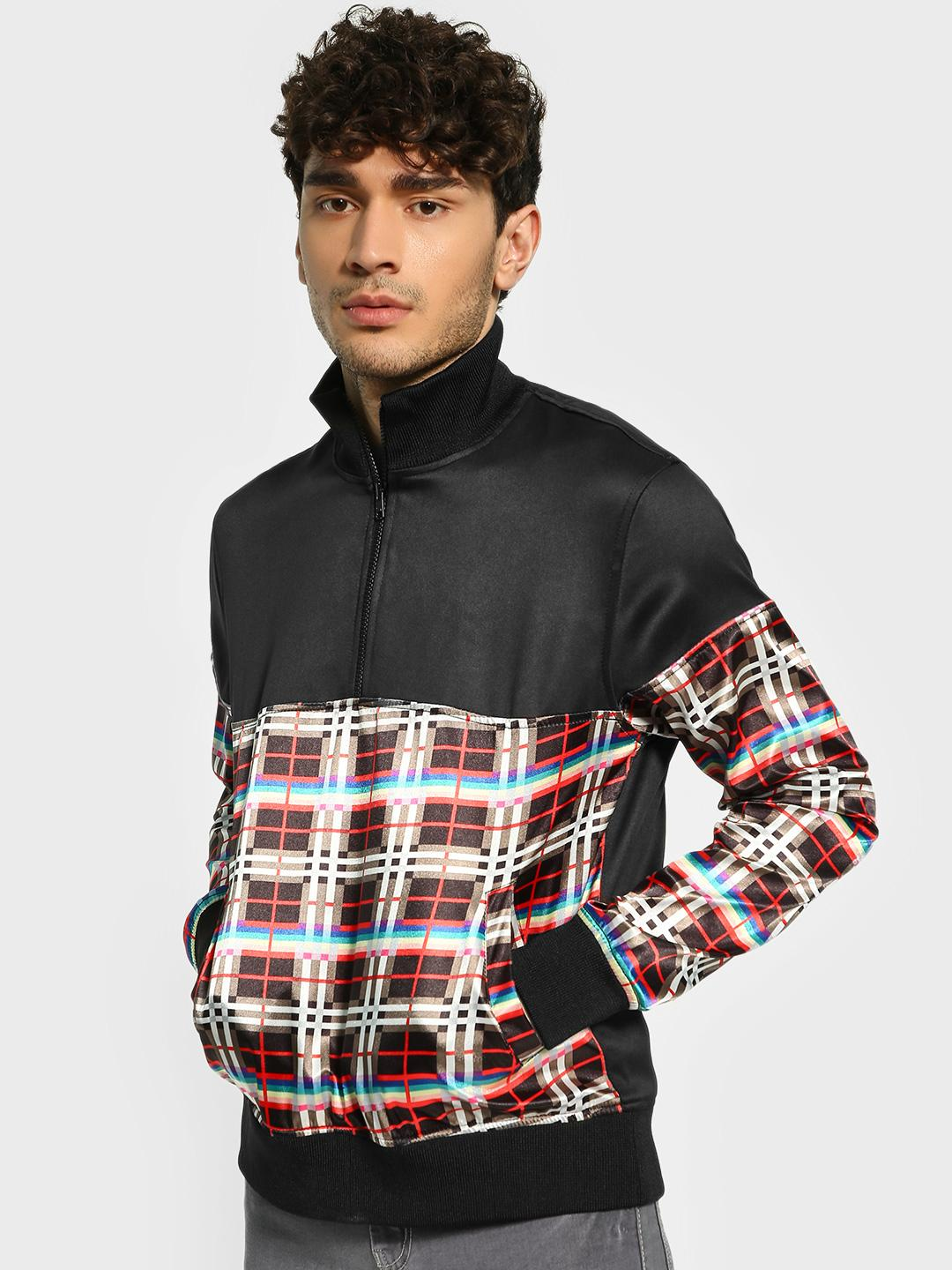 KOOVS Multi Checked Panel Half Zip-Up Jacket 1