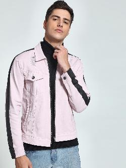 K Denim KOOVS Contrast Stripe Denim Trucker Jacket