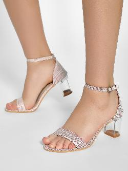 My Foot Couture Houndstooth Check Heeled Sandals