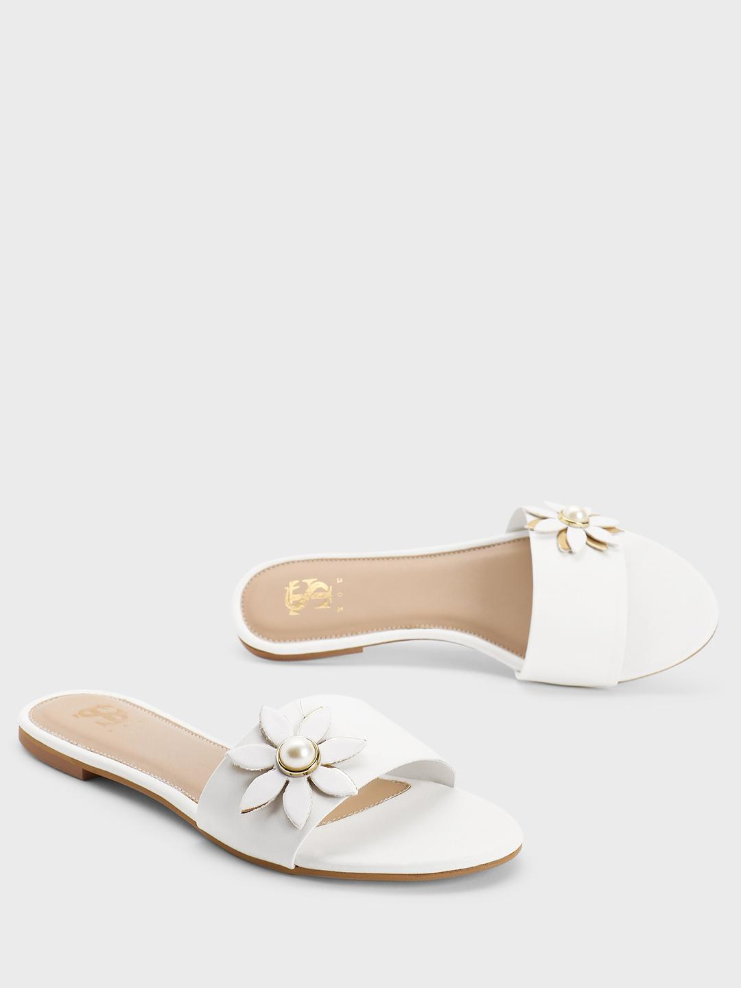 Shoe that fits You White Pearl Flower Embellished Sliders 1