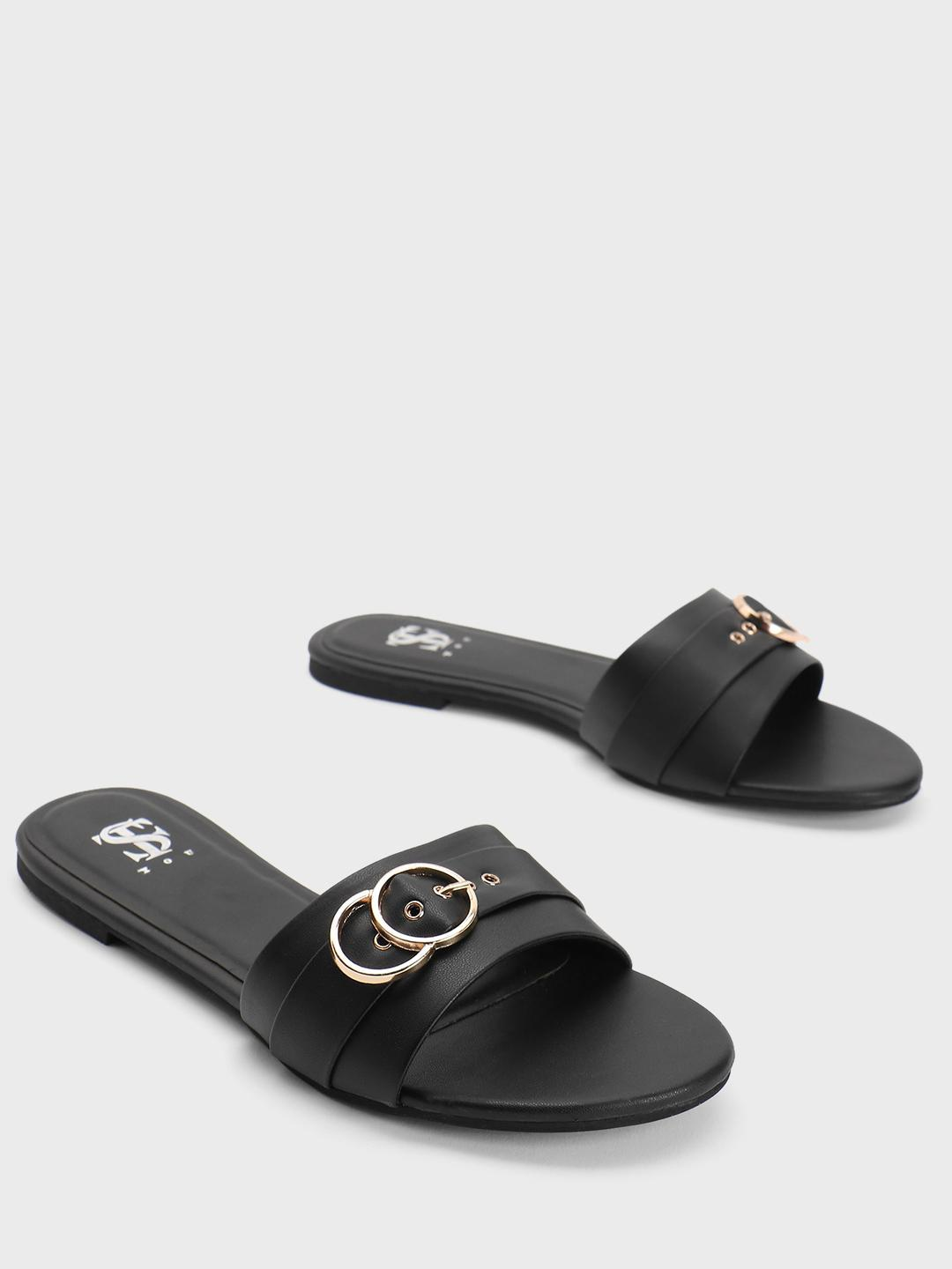 Shoe that fits You Black Pin Buckle Strap Flat Sandals 1