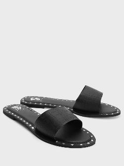 Shoe that fits You Crocskin Strap Studded Flat Sandals
