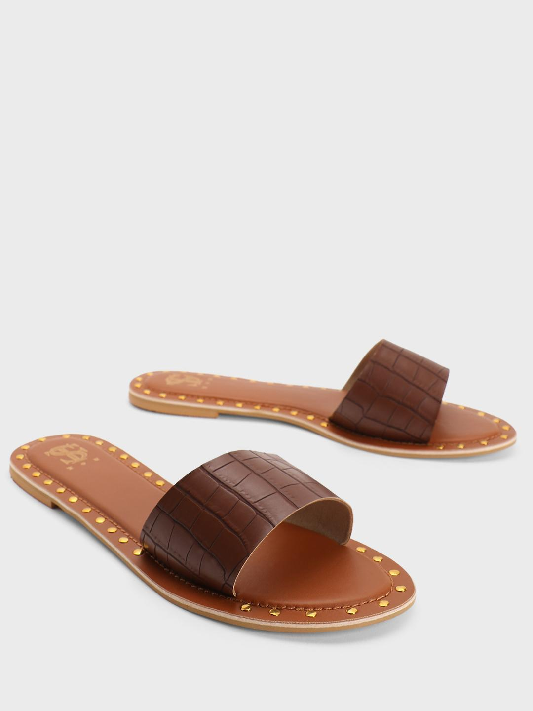 Shoe that fits You Brown Crocskin Strap Studded Flat Sandals 1