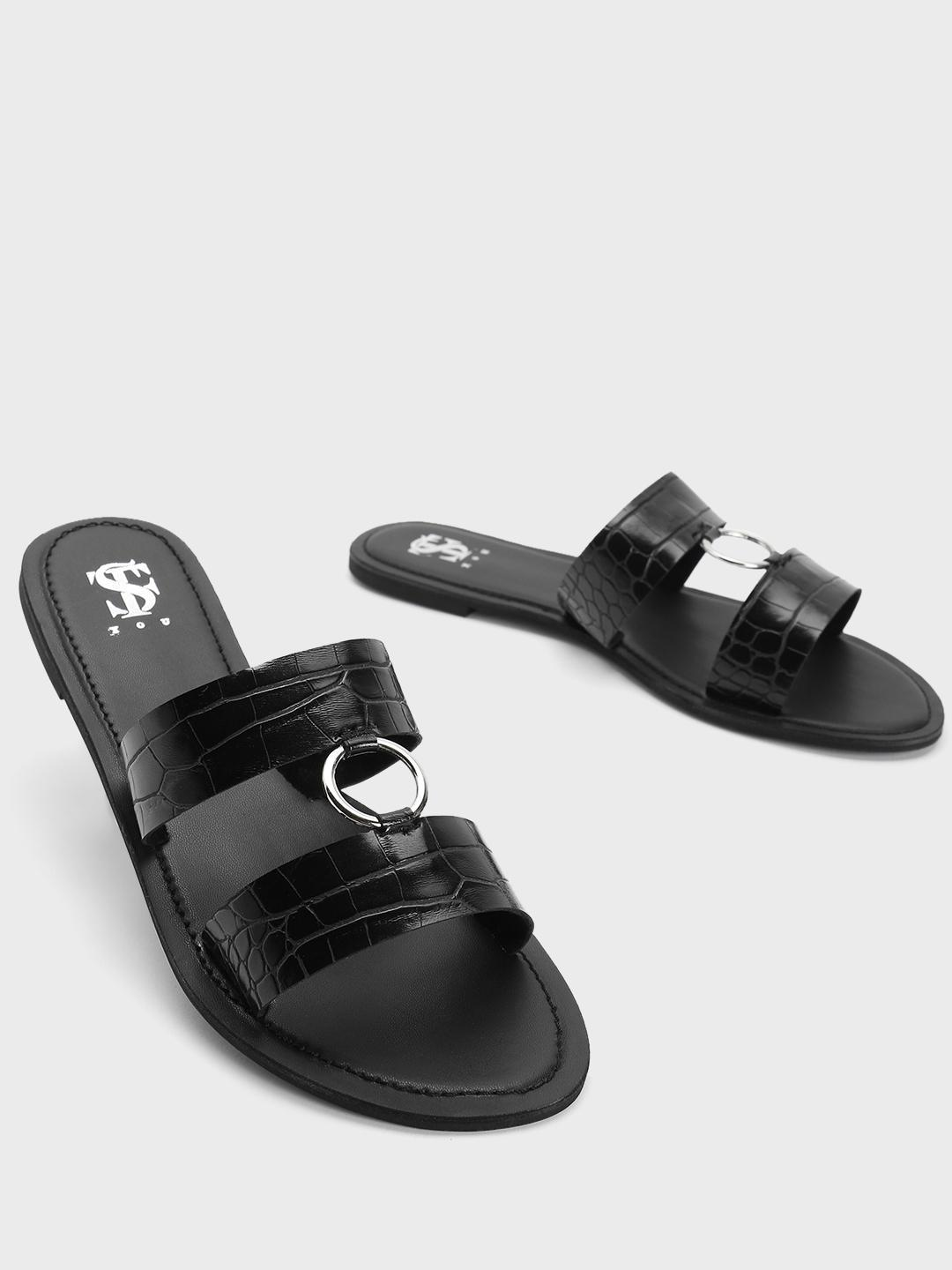 Shoe that fits You Black Crockskin Ring Strap Flat Sandals 1