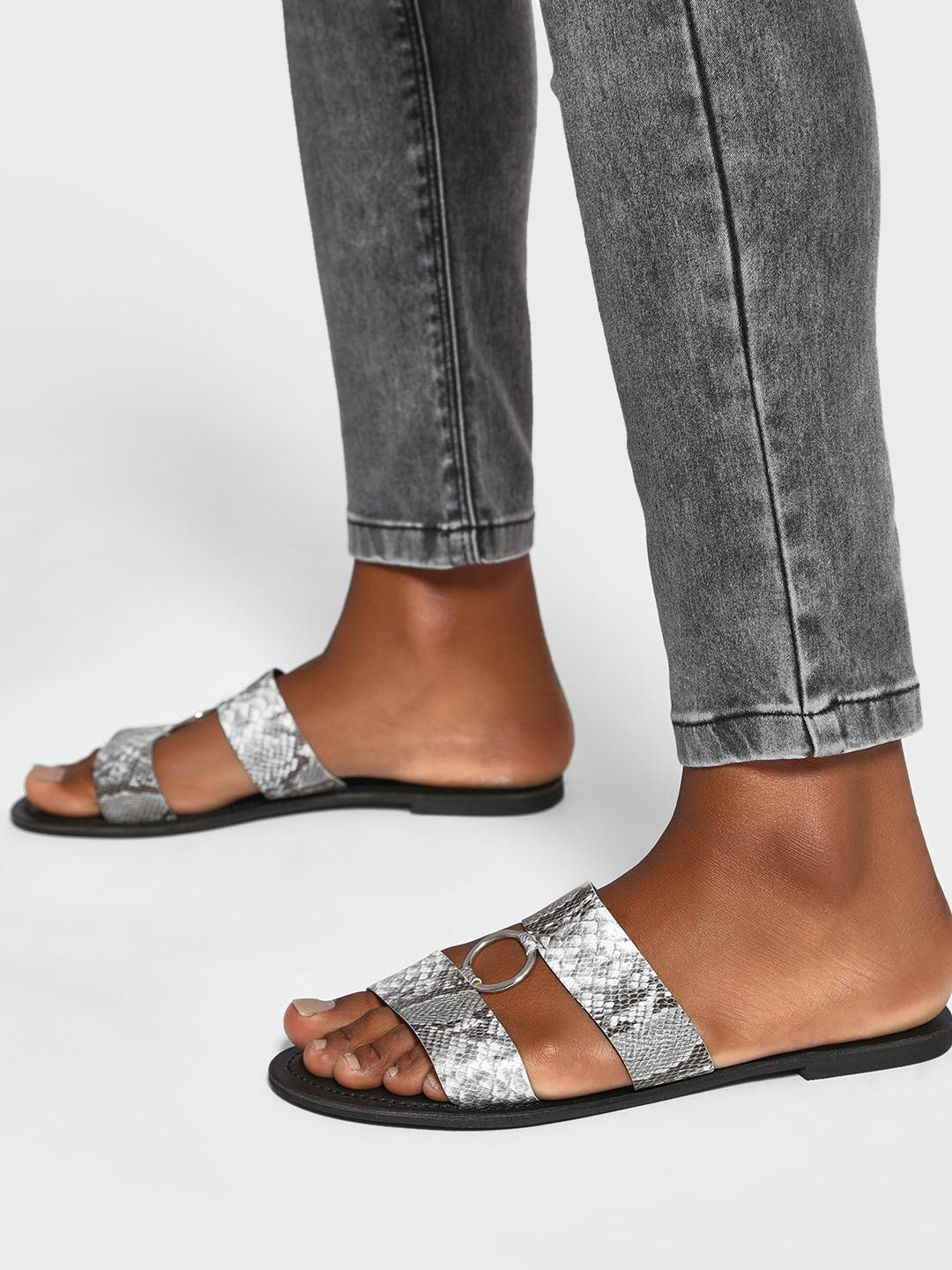 Shoe that fits You Grey Snakeskin Ring Strap Flat Sandals 1
