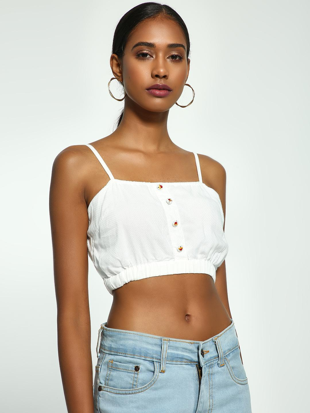 Kisscoast White Embroidered Shirred Back Crop Top 1