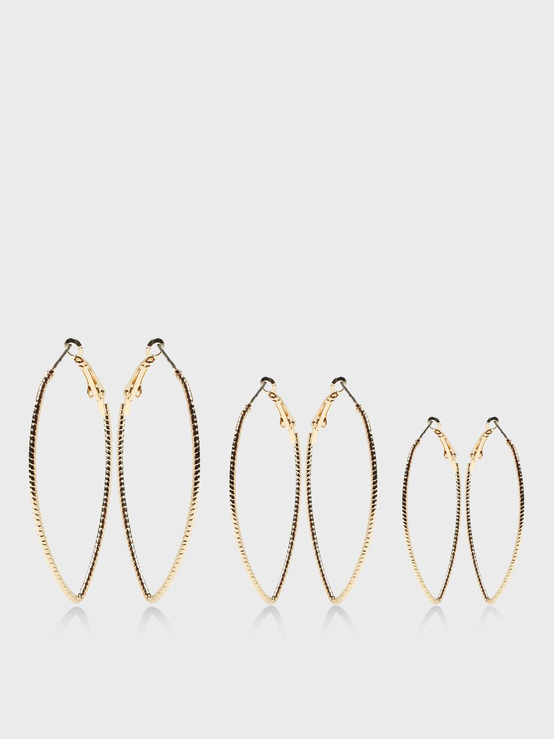 Funky Fish Gold Eye Shaped Gold-Tone Earrings (Set Of 3) 1