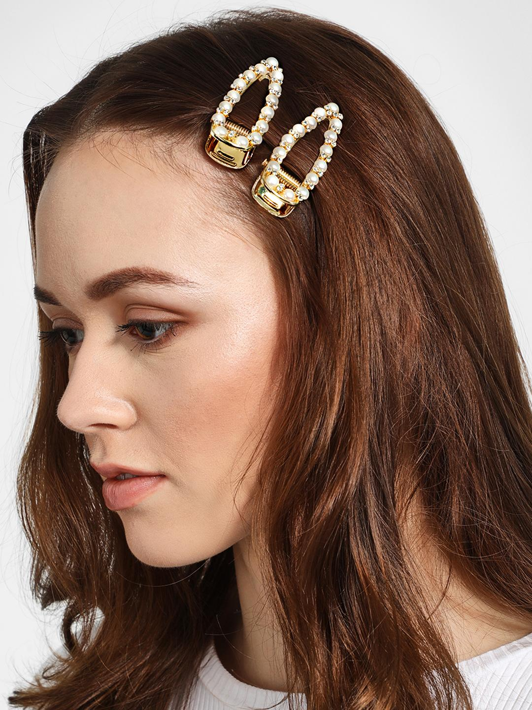 Funky Fish Multi Pearl & Diamante Embellished Hair Clips (Set of 2) 1