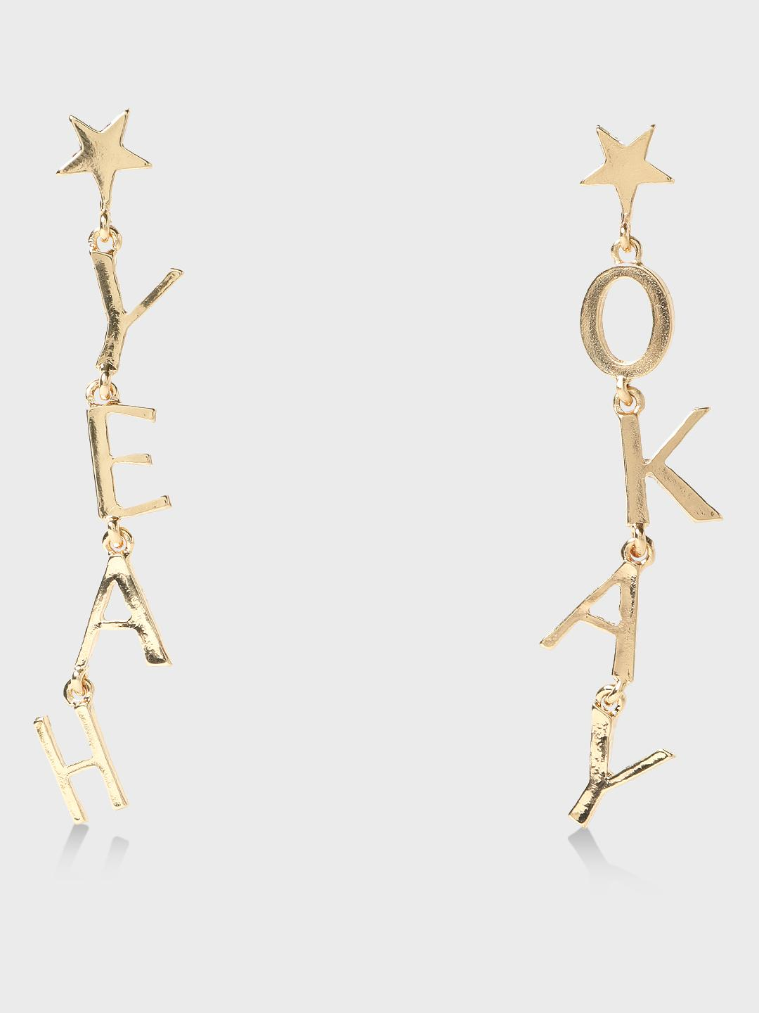 Funky Fish Gold Text & Star Detail Drop Earrings 1