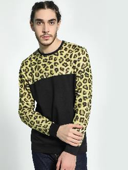 Fighting Fame Leopard Print Cut And Sew Sweatshirt