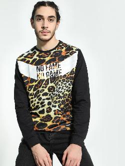 Fighting Fame Slogan Leopard Print Sweatshirt
