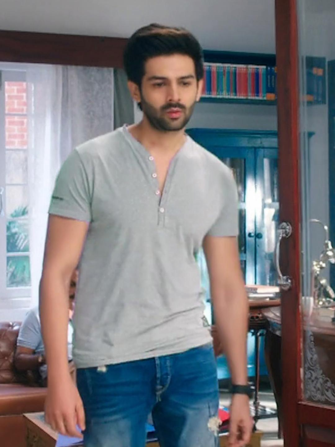 Bollywoo Grey In The Style Of Kartik Aaryan Henley T-Shirt 1