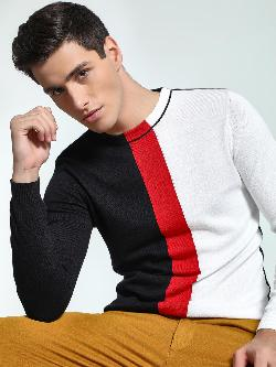 KOOVS Colour Block Ribbed Neck Sweater