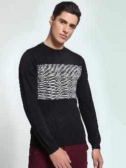 KOOVS Reverse Houndstooth Knit Sweater