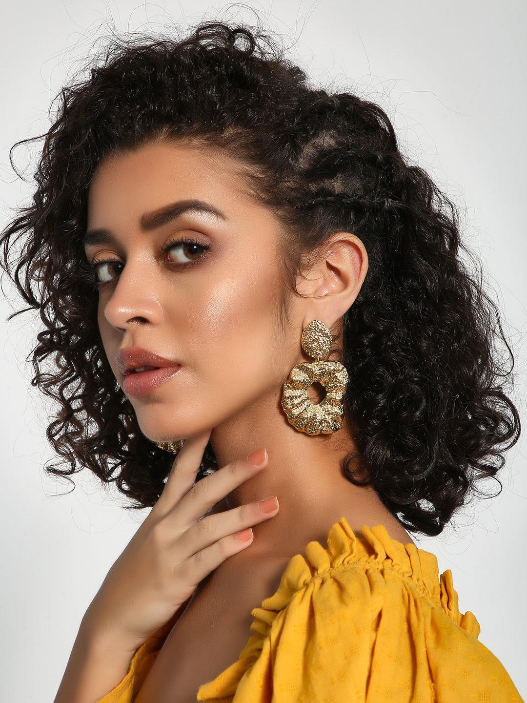 Style Fiesta Gold Encrusted Asymmetric Statement Earrings 1