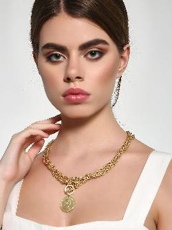 Style Fiesta Coin Pendant Chain Link Necklace