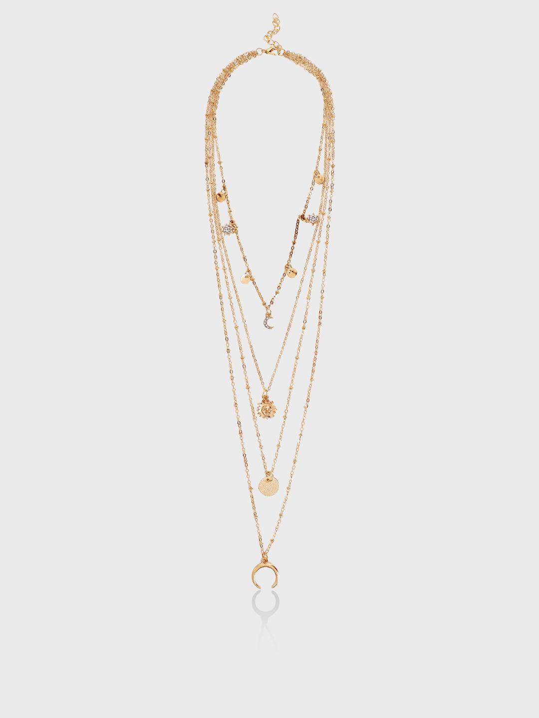 Style Fiesta Gold Celestial Pendant Multi Layer Necklace 1