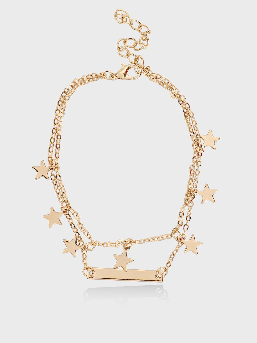 Style Fiesta Gold Mini Star Layered Anklet 1