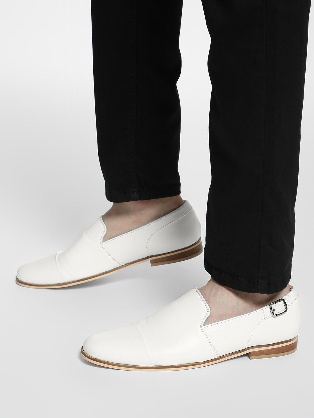 Griffin White Buckle Detail Panelled Loafers 1
