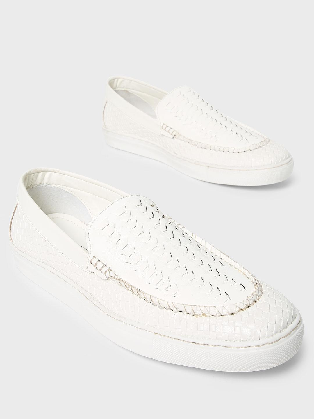 Bolt Of The Good Stuff White Handwoven Panelled Loafers 1