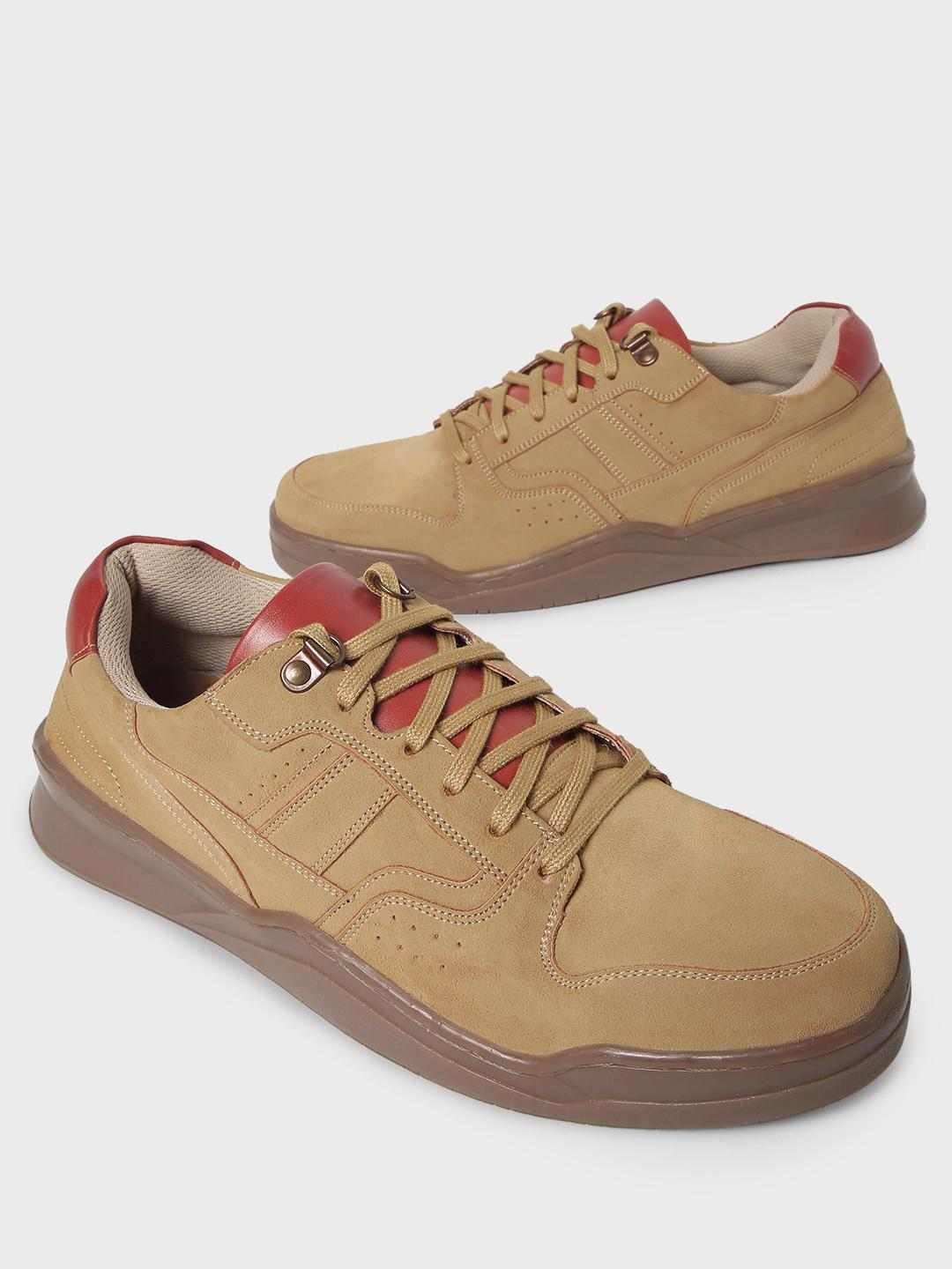 Kindred Beige Multi-Panel Suede Lace-Up Sneakers 1