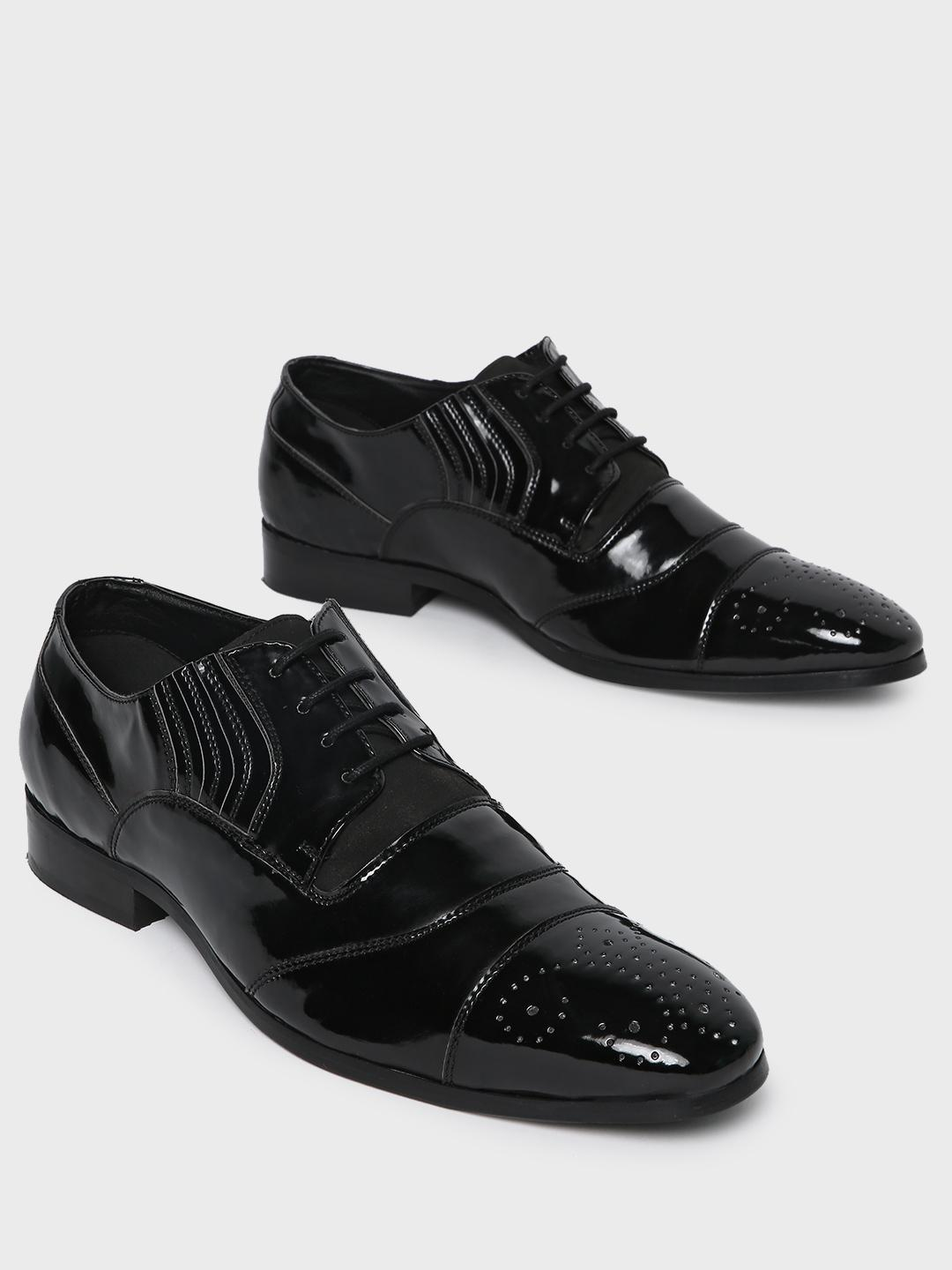Corso Venezia Black Toe Punches Panelled Oxford Shoes 1