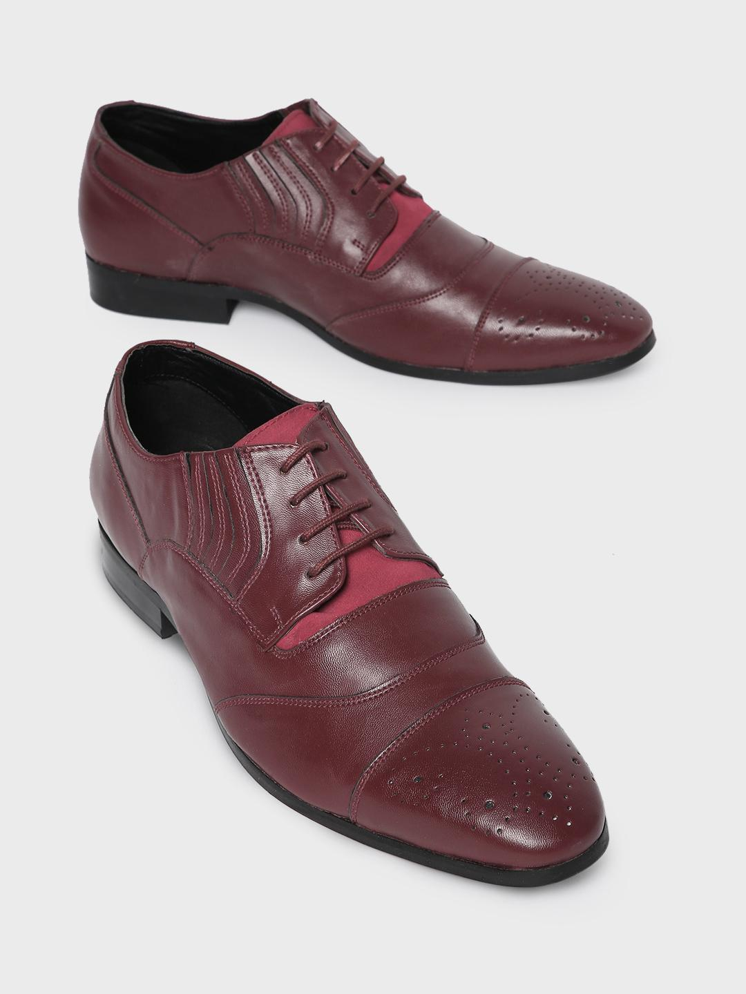 Corso Venezia Red Toe Punches Panelled Oxford Shoes 1