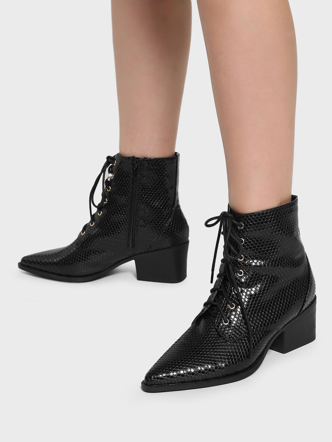 Intoto Black Textured Ankle Length Boots 1