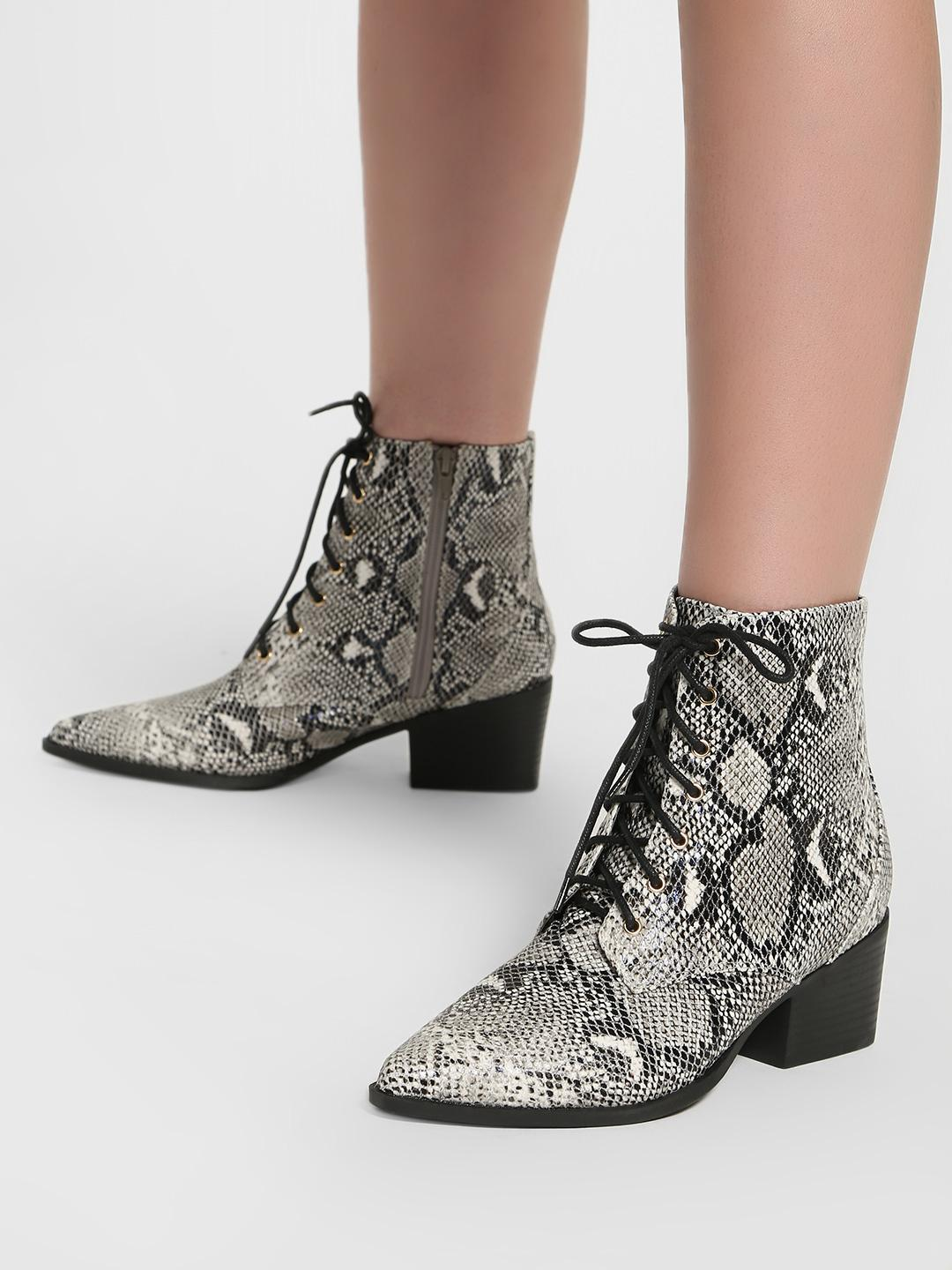 Intoto Multi Animal Print Lace-Up Ankle Boots 1