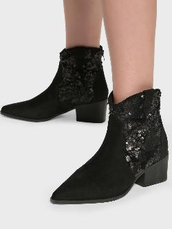 Intoto Suede Sequin Embellished Cowboy Boots