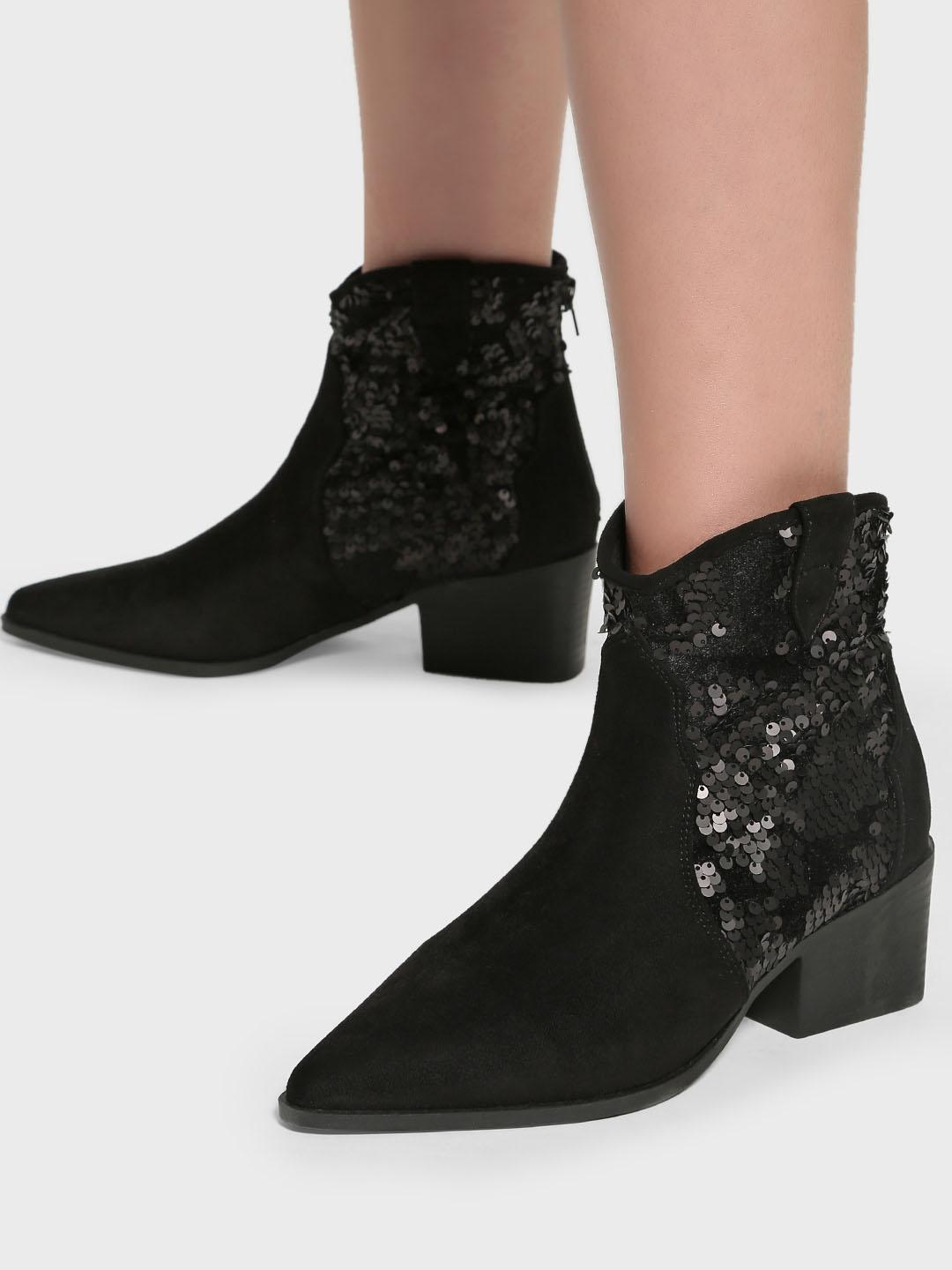 Intoto Black Suede Sequin Embellished Cowboy Boots 1