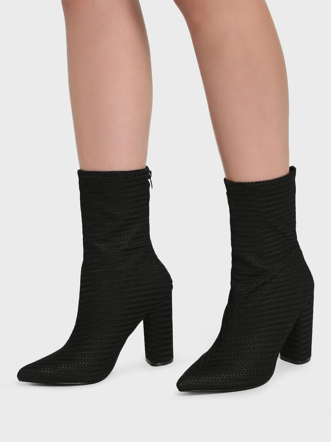 Intoto Black Braid Textured Calf-Length Boots 1