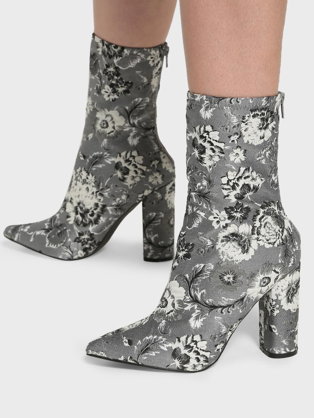 Intoto Grey Floral Jacquard Block Heel Boots 1