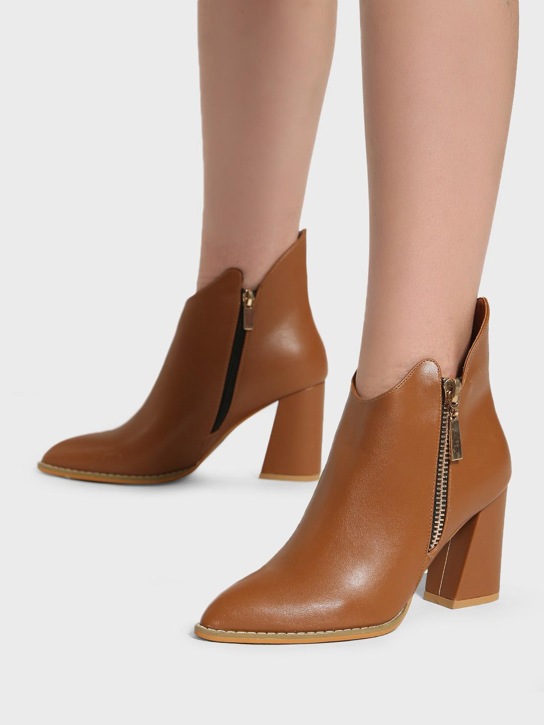 Intoto Tan Pointed Toe Ankle Boots 1