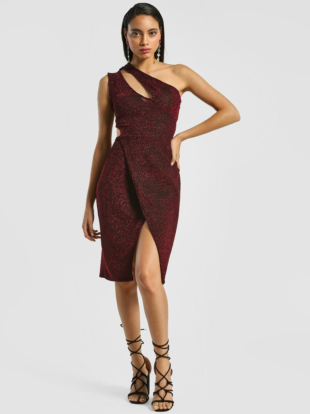 Shivan & Narresh X KOOVS Red Cut-Out One Shoulder Bodycon Dress 1