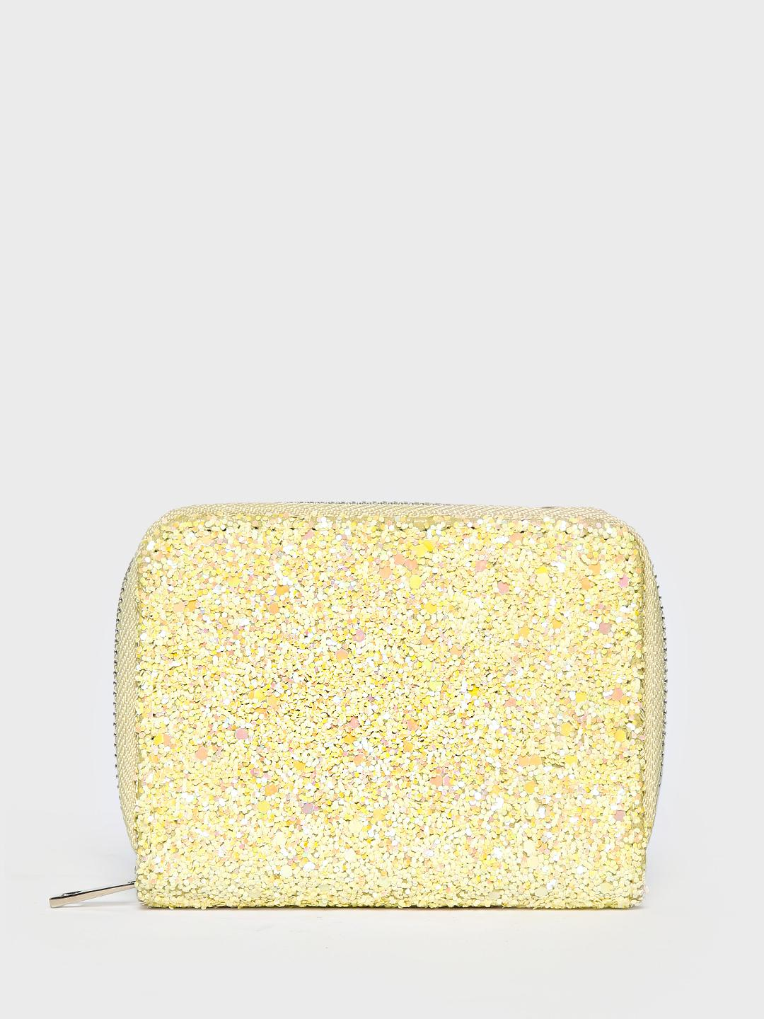 New Look Yellow All Over Glitter Wallet 1