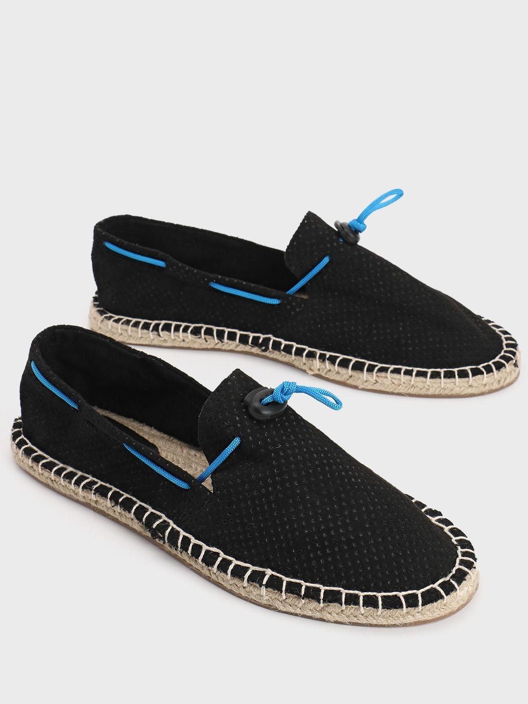 KOOVS Black Perforated Contrast Lace Suede Espadrilles 1