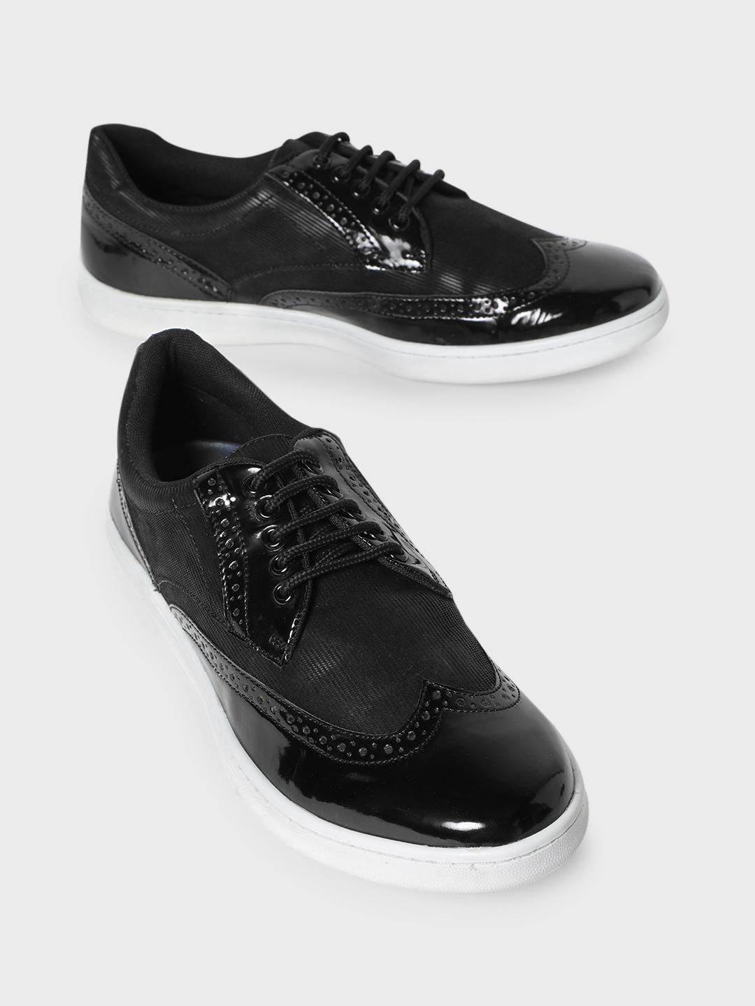 KOOVS Black Brogue Punches Lace-Up Sneakers 1