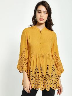 Kisscoast Broderie Button-Up Tunic Top