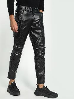KOOVS Biker Panel Leather Trousers