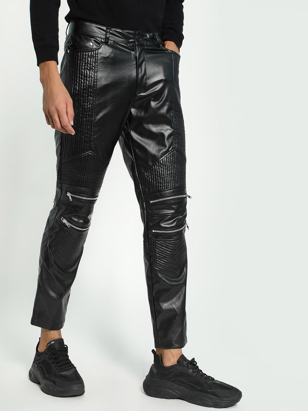 KOOVS Black Biker Panel Leather Trousers 1