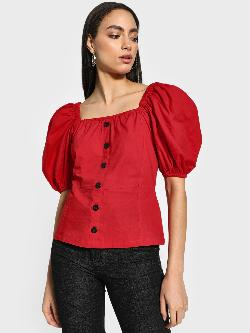 KOOVS Button-Down Puff Sleeve Blouse