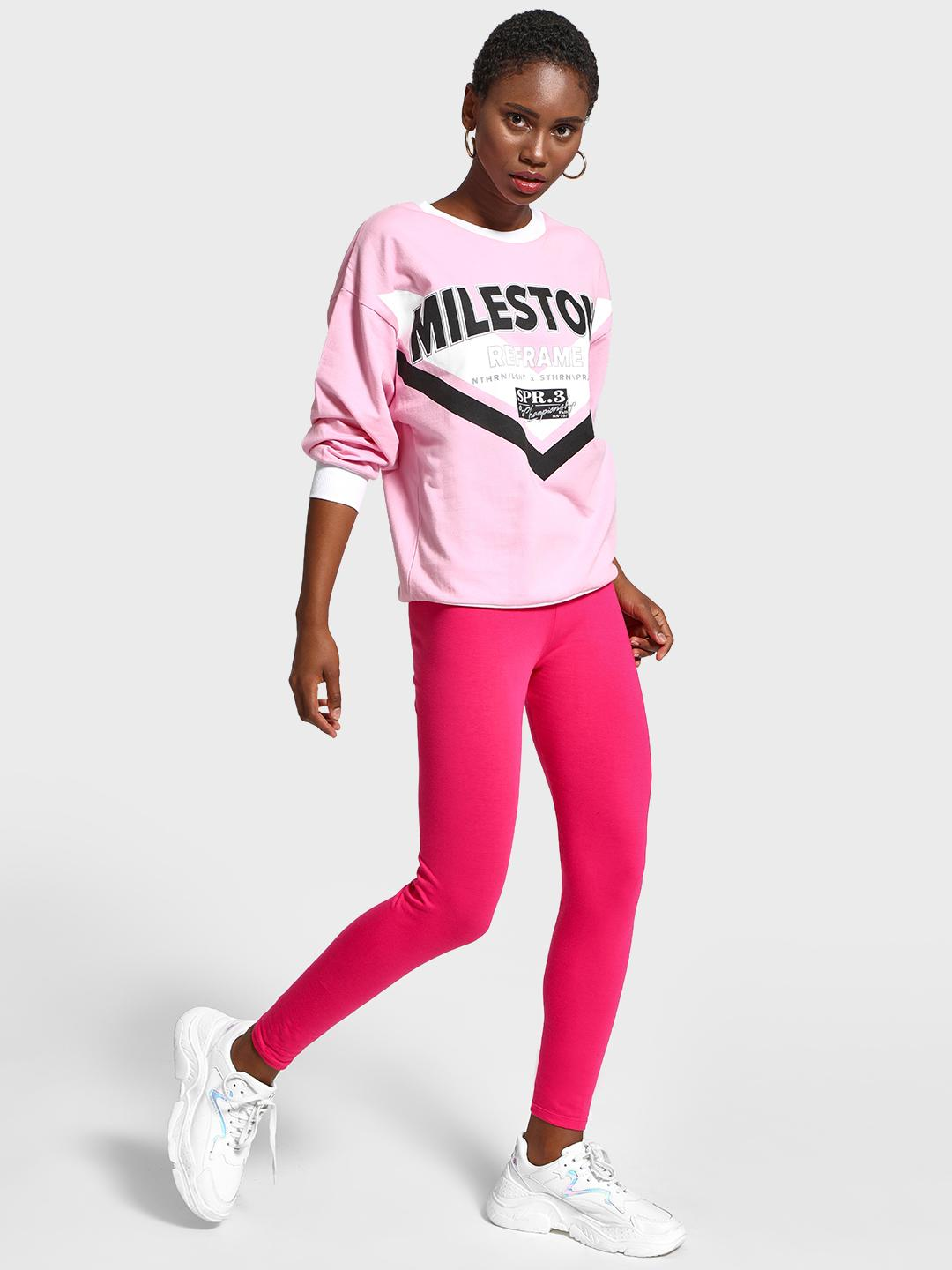 KOOVS Pink Basic Ankle Length Leggings 1