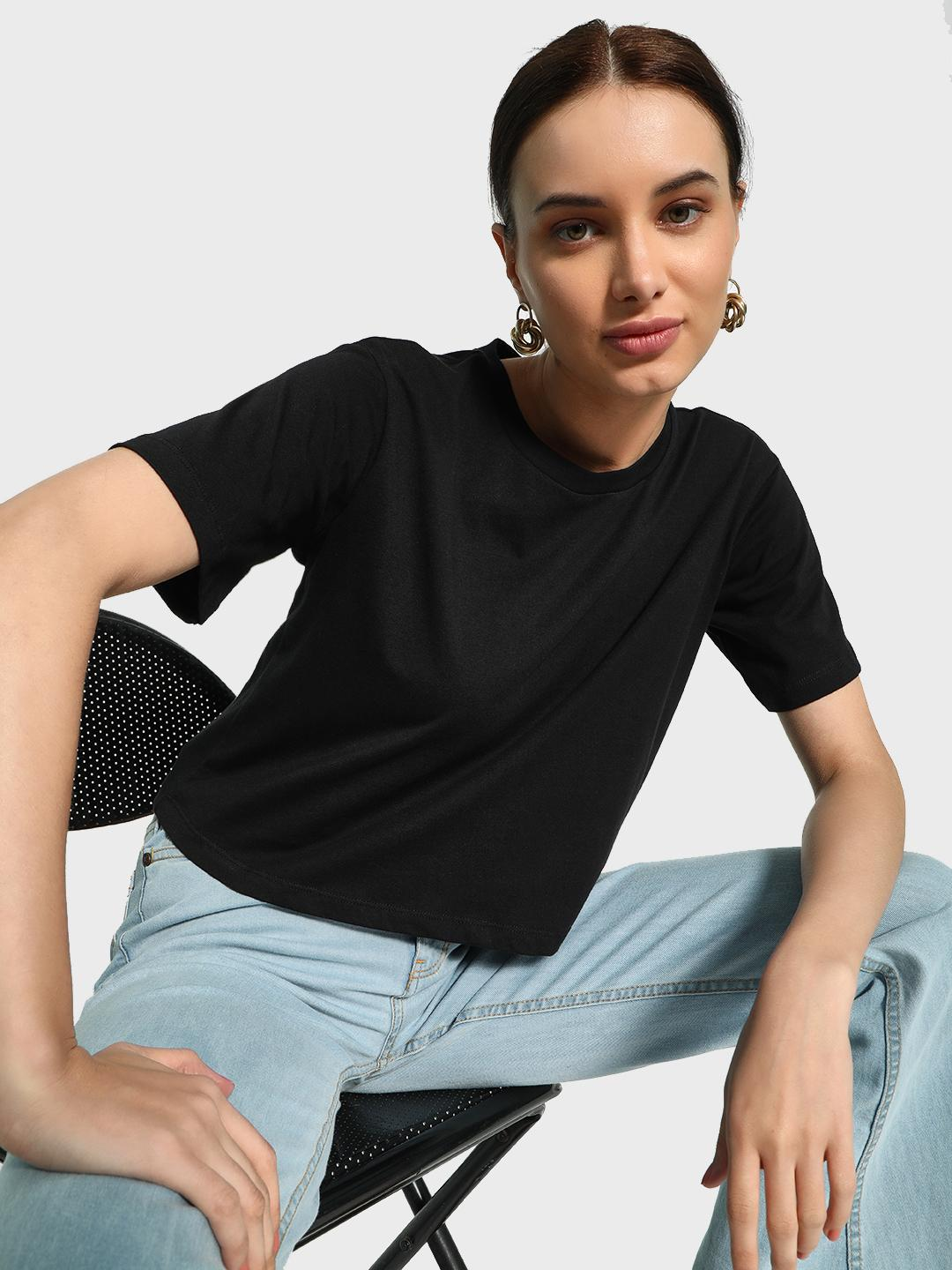 KOOVS Black Basic Crew Neck Crop T-Shirt 1